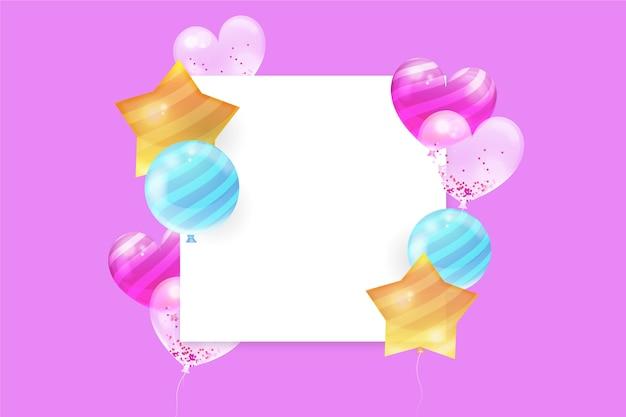 Globos de colores realistas con banner en blanco