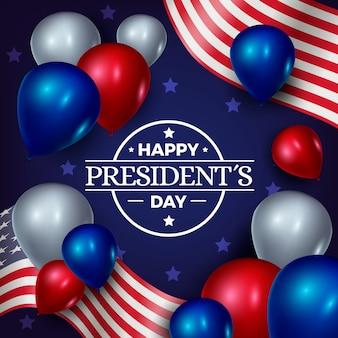 Globos de colores realistas para el día del presidente.