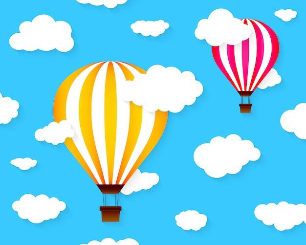 Globos coloridos de aire caliente. ilustración