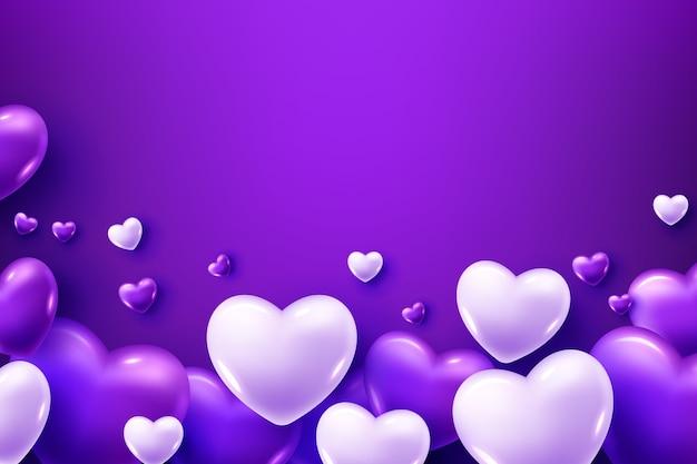 Globos de corazón morado y blanco sobre un fondo morado