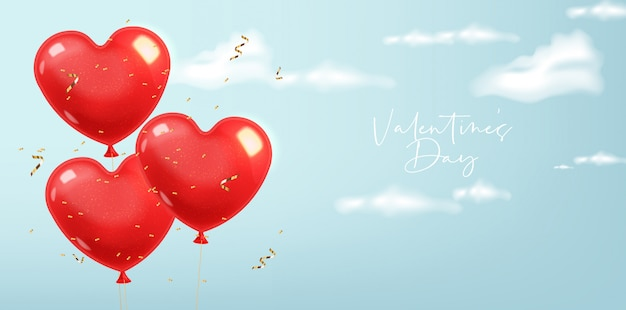 Globos de corazón realistas y confeti dorado, rojo aislado con fondo azul, cielo despejado, nubes realistas decoración de amor, día de san valentín, romántico