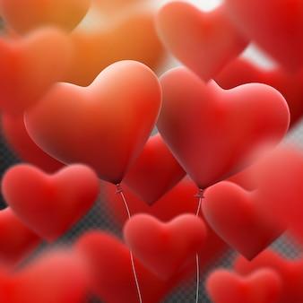 Globos de corazón rojo volando montón.