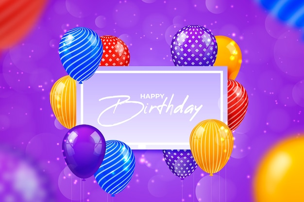 Globos de cumpleaños coloridos realistas