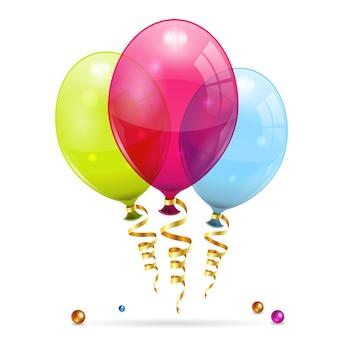 Globos de cumpleaños y serpentina dorada