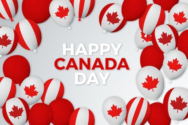 Globos del día de canadá con fondo de banderas