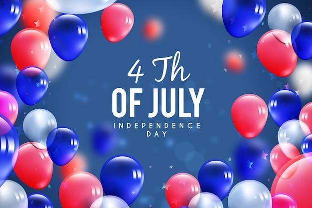 Globos del día de la independencia de estados unidos en colores de la bandera