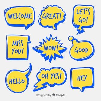 Globos de diálogo amarillos y azules