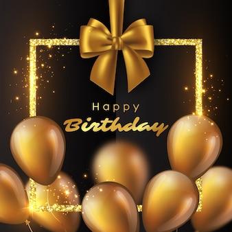 Globos dorados brillantes 3d con marco brillante y lazo. diseño de feliz cumpleaños de lujo. ilustración.