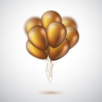 Globos dorados brillantes 3d realistas.