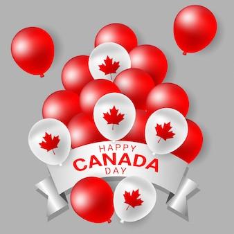 Globos de fiesta rojos y blancos para el día nacional de canadá