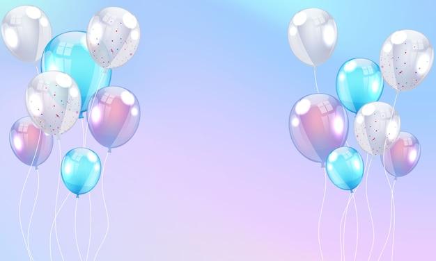Globos fondo de marco de celebración colorida con confeti.