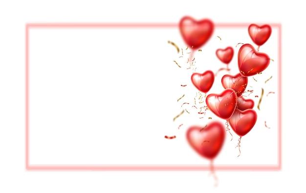 Globos en forma de corazón realista con confeti dorado.
