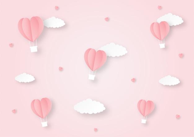Globos en forma de corazones volando papel de fondo de estilo de arte.