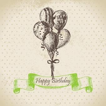 Globos ilustración de dibujado a mano de feliz cumpleaños
