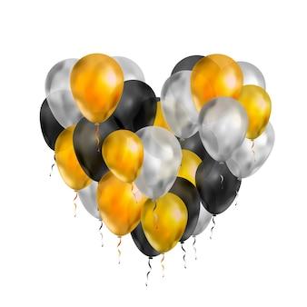 Globos de lujo en colores dorado, plateado y negro en forma de corazón aislados en blanco