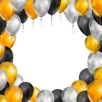 Globos de lujo en colores dorado, plateado y negro en forma de marco redondo sobre blanco