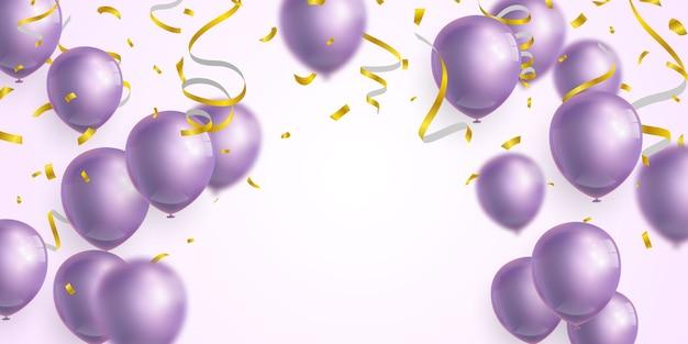 Globos morados, cintas y confettis.
