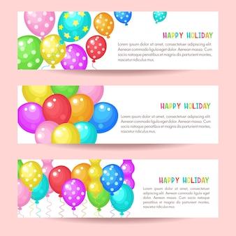 Globos multicolores. tarjeta de feliz cumpleaños.