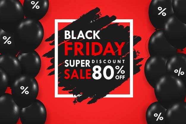 Globos negros flotando en el lateral del cuadro de texto oferta especial festiva de blackfriday.
