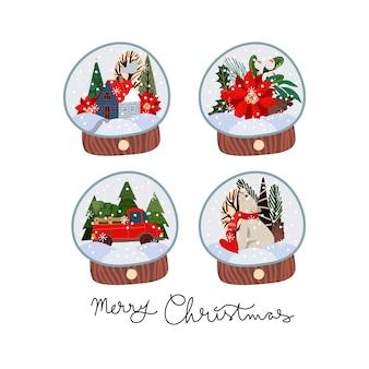 Globos de nieve con temática navideña