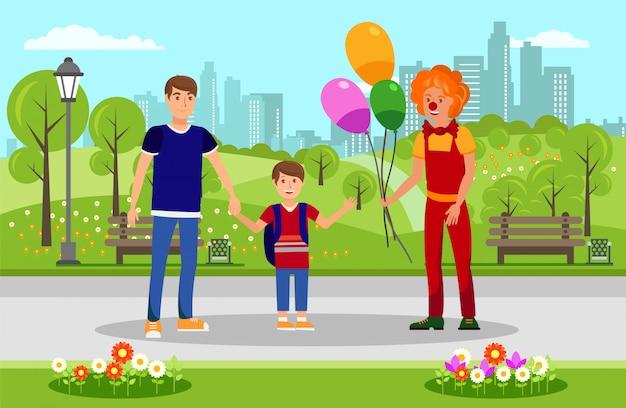 Globos para niños de payaso en parque ilustración