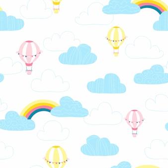 Globos en las nubes. patrón transparente de vector de bebé en estilo de dibujo a mano simple.