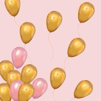 Globos de oro y rosa de lujo con confeti.