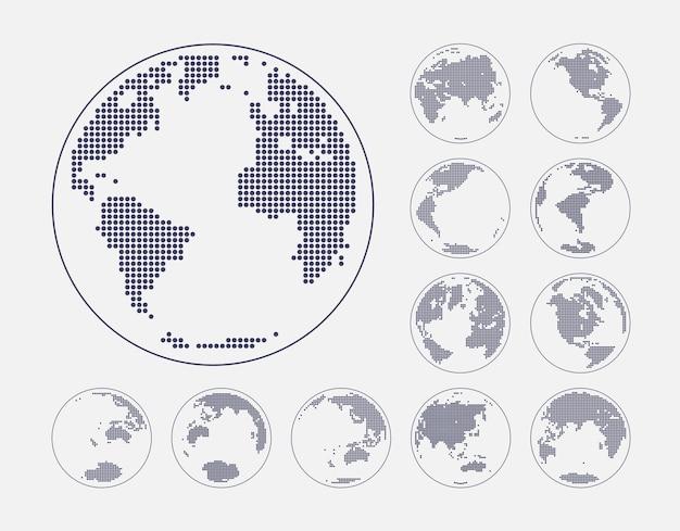 Globos que muestran la tierra con todos los continentes vector