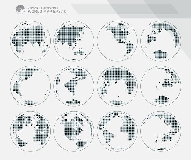 Globos que muestran la tierra con todos los continentes