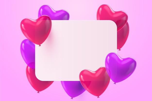 Globos realistas con corazones y banner