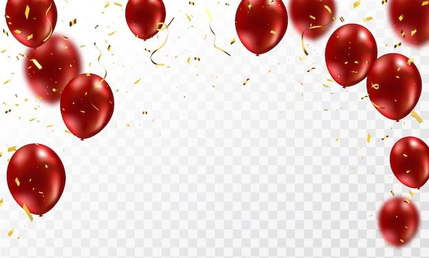Globos rojos, confeti plantilla de diseño de concepto de oro vacaciones feliz día, celebración de fondo
