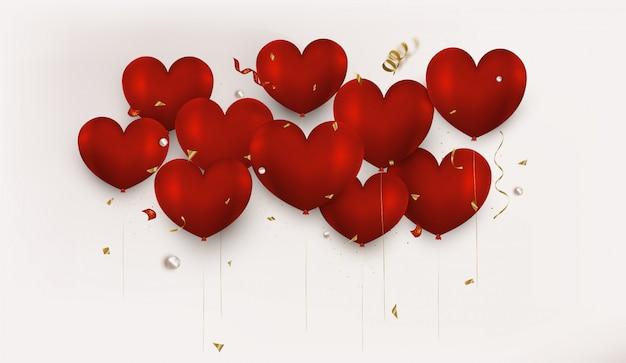 Globos rojos del corazón 3d en fondo horizontal del día de san valentín beige.