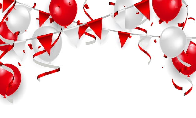 Globos rojos, diseño de concepto de confeti, feliz día de la independencia de fondo