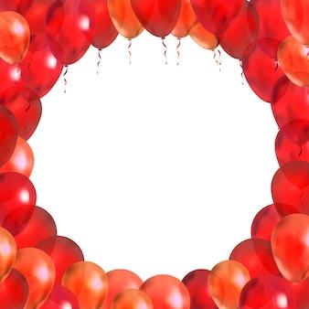 Globos rojos en forma de marco redondo en blanco