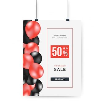 Globos rojos y negros con 50% de descuento en la oferta especial de carteles de gran venta.