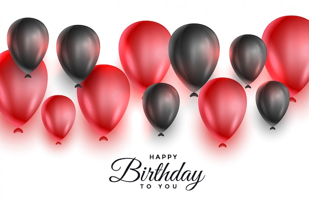 Globos rojos y negros para la celebración de feliz cumpleaños