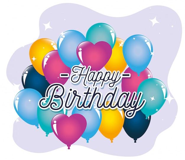 Globos, tarjeta de felicitación de feliz cumpleaños