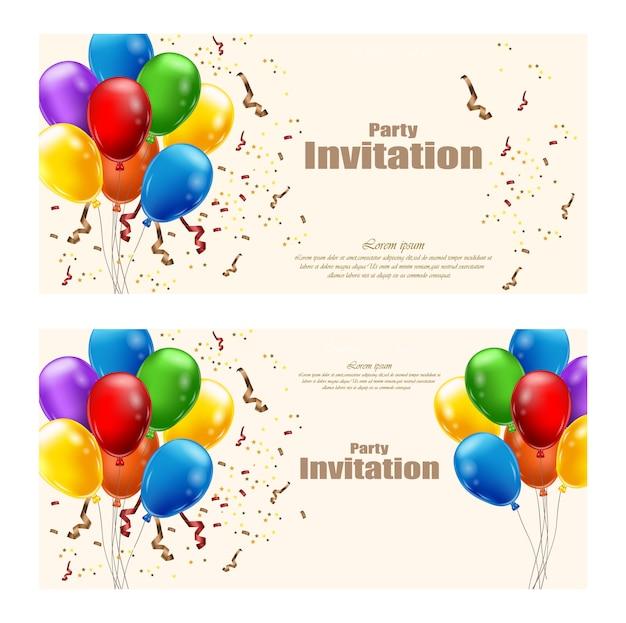 Globos tarjeta de invitación de fiesta
