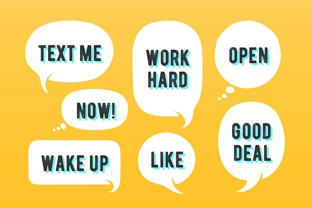 Globos de texto. conjunto de mensaje, nube de hablar y bocadillo. bocadillo de diálogo blanco, nube hablar silueta con texto. elementos para mensaje, red social, web. ilustración