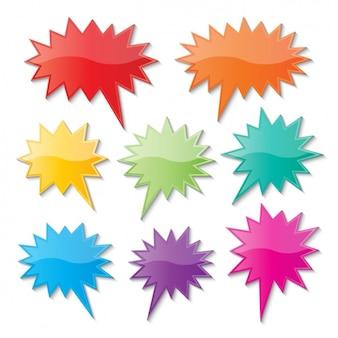 Globos de texto con puntas de colores