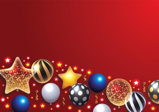 Globos transparentes y brillantes realistas con confeti venta de vacaciones y decoración de fiestas cumpleaños