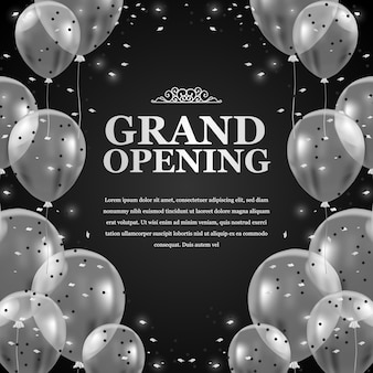 Globos transparentes voladores plateados 3d con confeti y fondo negro para el anuncio del cartel de gran inauguración