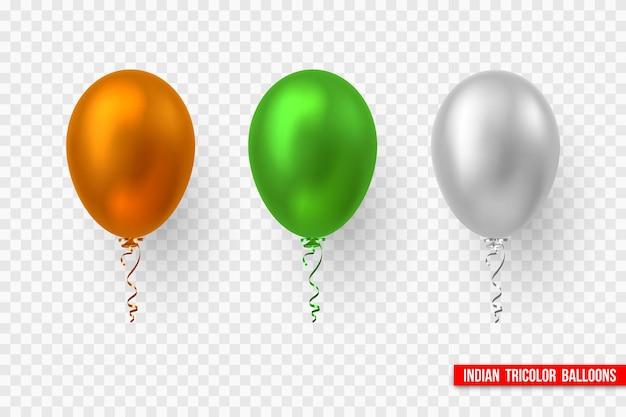 Globos de vector en tricolor tradicional de la bandera india. elementos decorativos realistas para fiestas nacionales de la india. aislado sobre fondo transparente.
