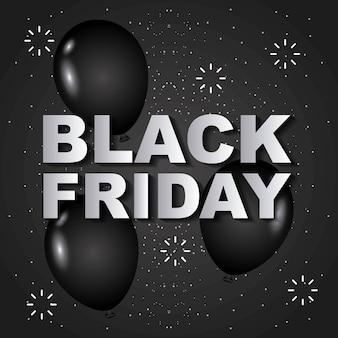 Globos de viernes negro brilla banner de venta