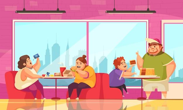 Glotonería y cafetería con gente comiendo en exceso símbolos planos