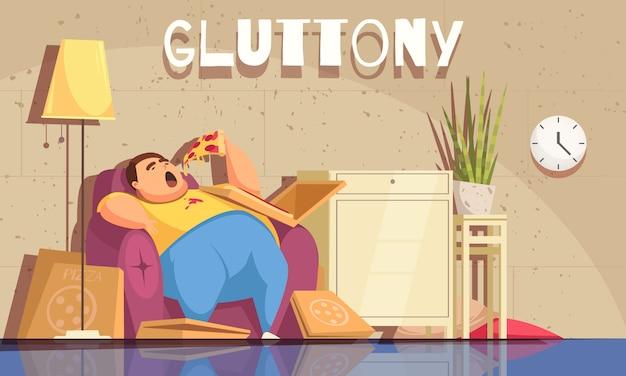 Glotonería con símbolos obsesivos de comer y sobrepeso planos