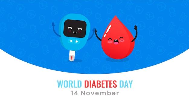 Glucómetro del día mundial de la diabetes y banner de gota de sangre