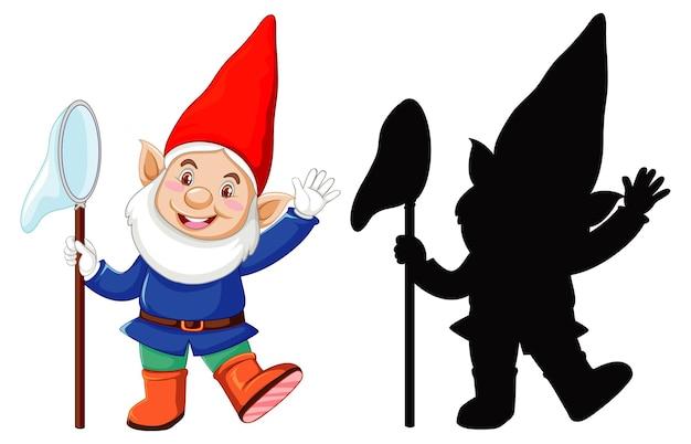 Gnomo en color y contorno y silueta en personaje de dibujos animados sobre fondo blanco.
