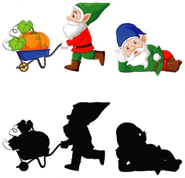 Gnomo en color y silueta en personaje de dibujos animados sobre fondo blanco.