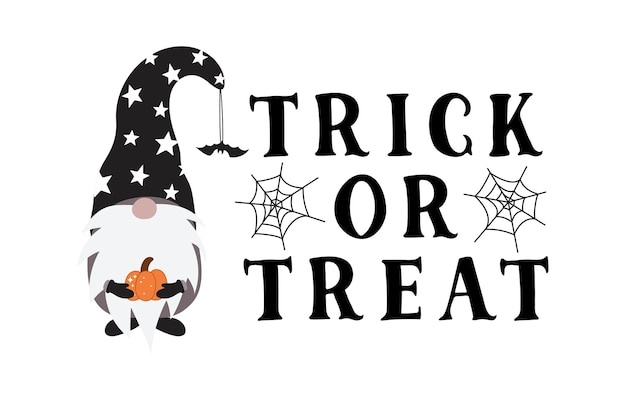 Gnomo de halloween y señal de truco o trato